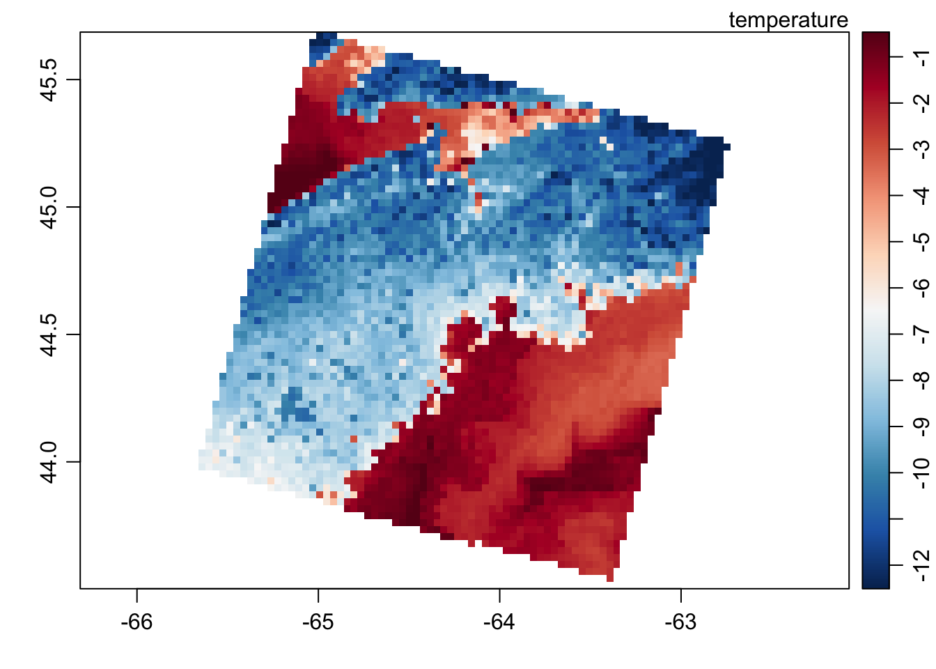 Image plot of the landsat data showing the temperature band.