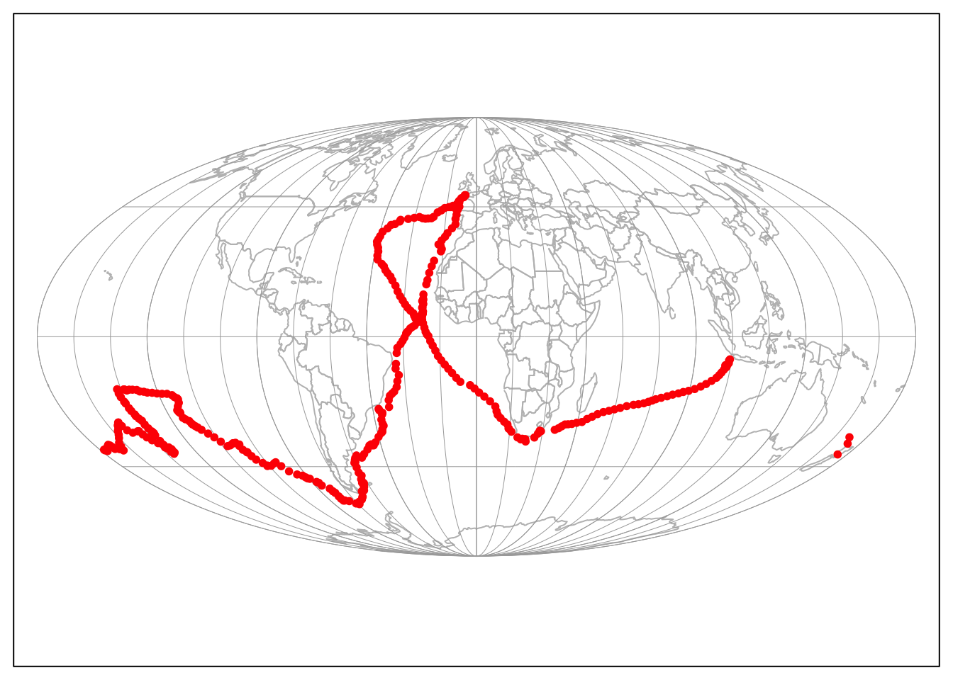Global map with the Mollweide projection (default).