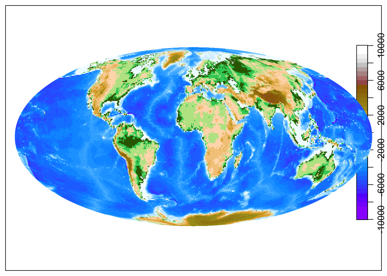 Global map with added topography.