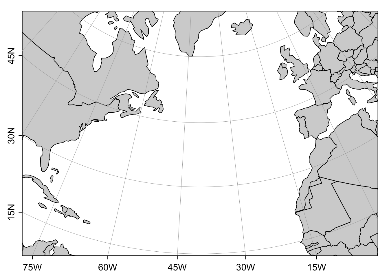 Map of the North-Atlantic based on the Lambert Conformal Conic projection.
